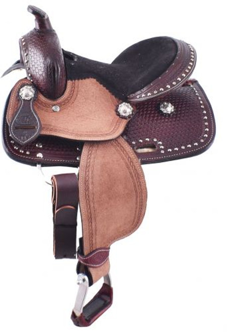 """10"""" Double T pony saddle with basketweave tooled pommel, cantle, and skirt."""
