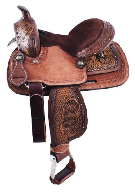 "10"" Double T pony saddle with floral and basketweave tooled pommel, cantle, and skirt."