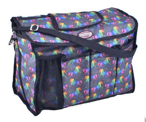 Showman® Unicorn printed nylon cordura grooming carrier with durable nylon shoulder straps.