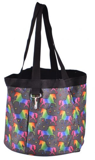 Showman® Unicorn printed durable nylon grooming tote with 4 large pockets that fit most size brushes