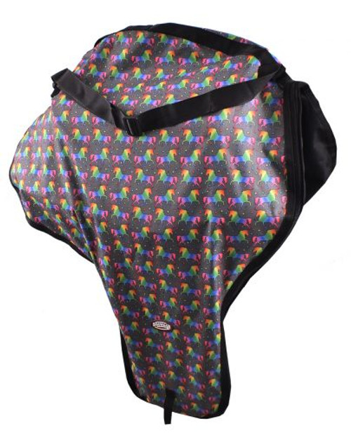 Showman ® Unicorn Printed western saddle carry case with strap.