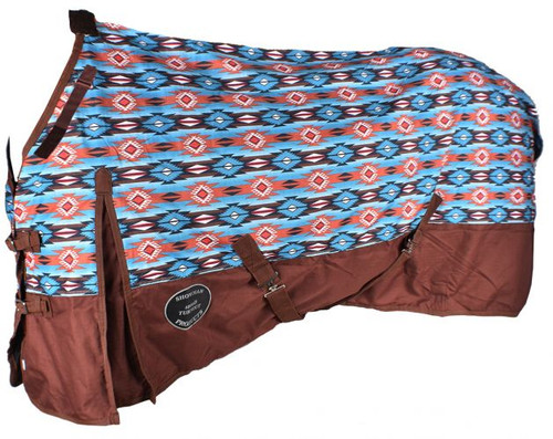 The Waterproof and Breathable Showman™ Orange and Turquoise Southwest Print 1200 Denier Perfect Fit Turnout Blanket.
