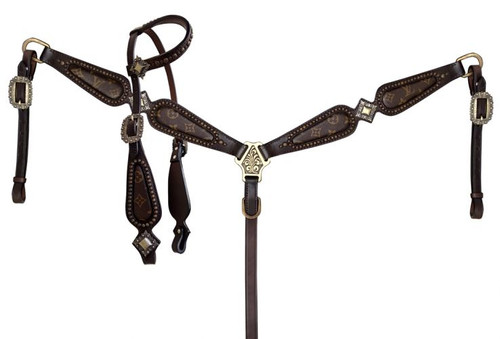 Klassy Cowgirl Argentina Cow Leather Re-purposed Louis Vuitton Headstall and Breast Collar Set with scalloped breast collar.