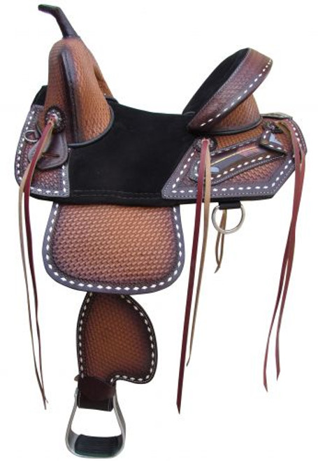"""15"""", 16"""" Double T Treeless Saddle with Hand Painted arrow design."""