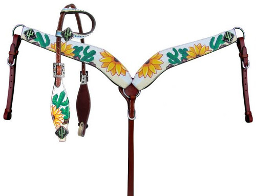 Showman ® Sunflower and Cactus Print One Ear Headstall and Breastcollar Set.