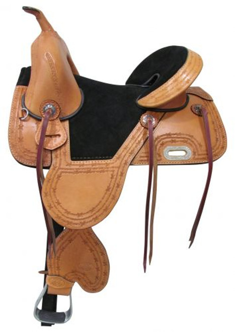"15"", 16"" Circle S Treeless Saddle with barbwire tooled trim."
