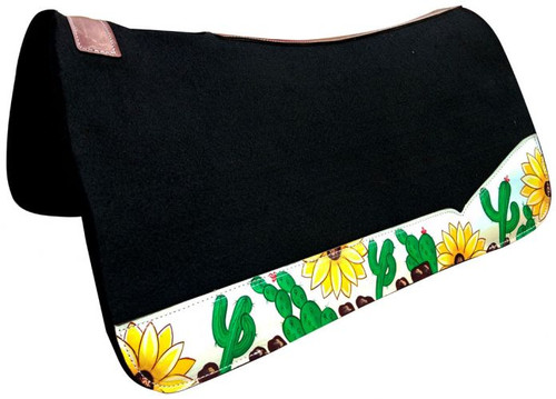 "Showman ® 31"" x 32"" black felt saddle pad with sunflower and cactus design."