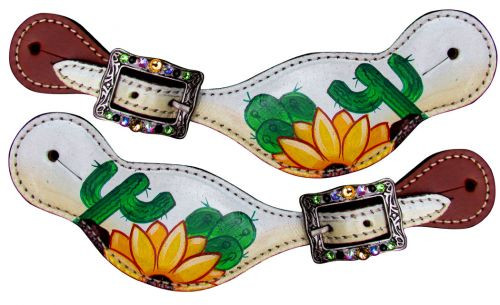 Showman ® Ladies Sunflower and Cactus Overlay Spur Straps.