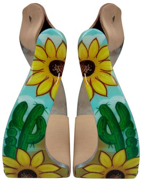 Showman ® Lightweight twisted angled aluminum stirrups with sunflower and cactus print overlay.