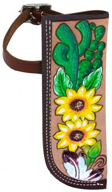 Showman ® Hand Painted Sunflower and Cactus Leather flag carrier.
