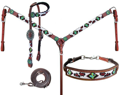 Showman ®  Beaded Cheetah and Cactus 4 Piece Headstall and Breastcollar Set.