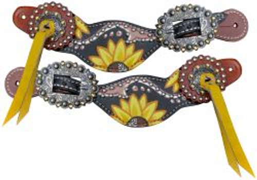 Showman ® Ladies Yellow and Black Sunflower Overlay Spur Straps.