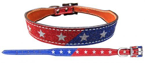 Showman Couture ™ Red and Blue Glitter overlay leather dog collar with silver glitter stars.