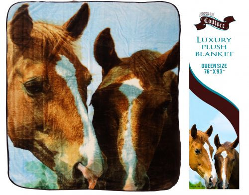 """Showman Couture ™ Luxury plush blanket with """" Barn Buddies"""" print. Queen Size 76"""" x 93""""."""