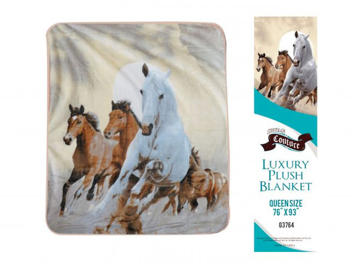 """Showman Couture ™ Luxury plush blanket with desert horse print. Queen Size 76"""" x 93""""."""