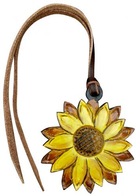 Showman ® Hand painted sunflower tie on saddle accessory.