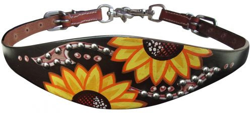Showman ® Hand painted wither strap with a sunflower and brown script design.