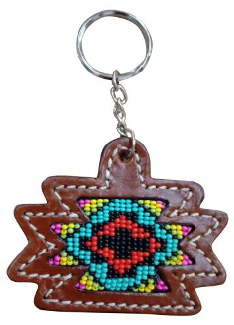 Showman ® Leather Aztec key chain with multi colored beaded cross inlay.