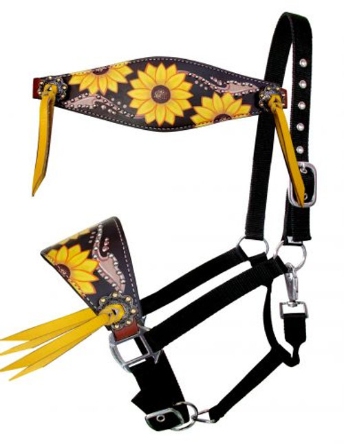 Showman ®  Adjustable nylon bronc halter with sunflower inlay nose band.