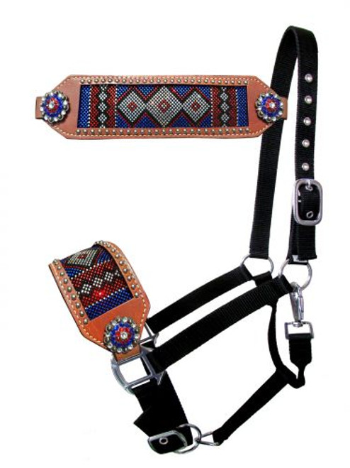Showman ® bronc style halter with red, white, and blue crystal rhinestone diamond design inlay.
