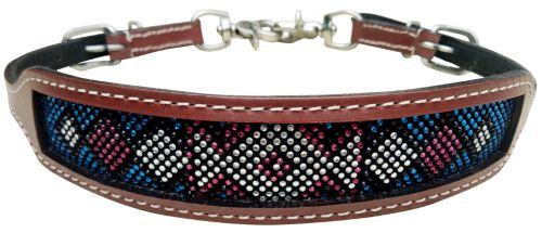 Showman ® wither strap with teal and pink crystal rhinestone diamond design inlay.