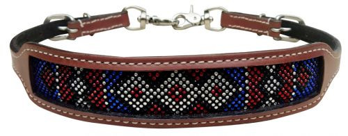 Showman ® wither strap with red, white, and blue crystal rhinestone diamond design inlay.