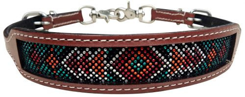 Showman ® wither strap with teal, red, and orange crystal rhinestone diamond design inlay.