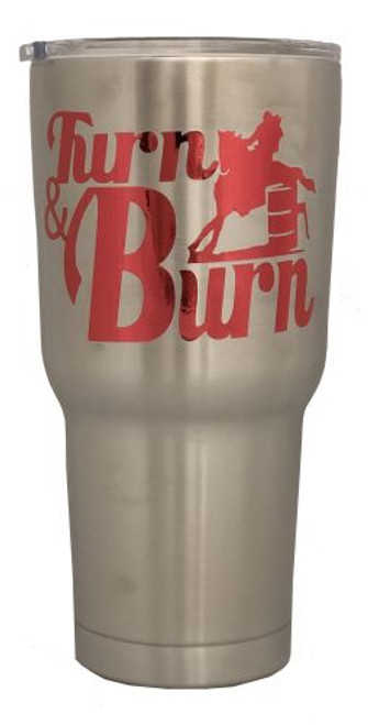 Stainless Steel 30oz Tumbler with Red Turn N Burn Barrel Racer Foil Decal.