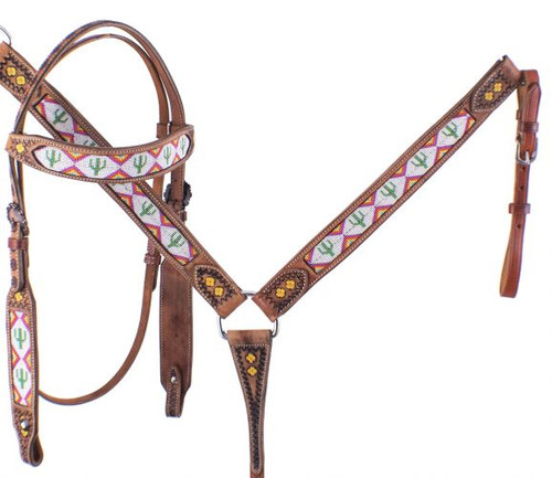 Showman ® Cactus Print Beaded headstall and breast collar set.