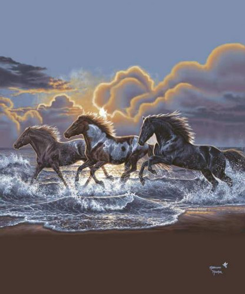 "Showman Couture ™ Luxury plush blanket with running horses on a beach print. Queen Size 76"" x 93"". Soft luxury plush blanket features fine artistic images. 100% Polyester. Approximate size 76"" x 93""."