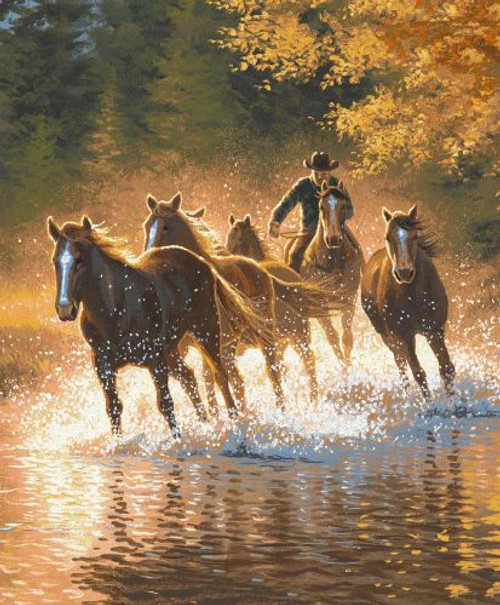 """Showman Couture ™ Luxury plush blanket with running horses in water print. Queen Size 76"""" x 93""""."""