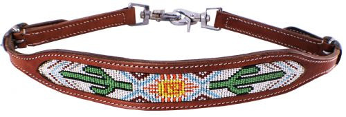 Showman ® cactus and navajo beaded design wither strap.