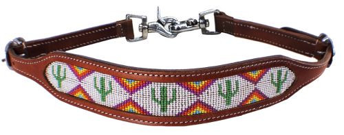 Showman ® cactus and triangle beaded design wither strap.