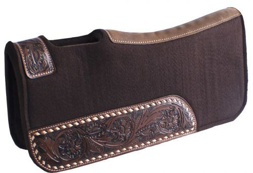 "Showman® Pony 24"" x 24"" Brown felt saddle pad with floral tooled wear leathers."