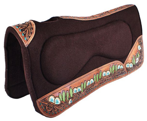 """Showman ® 32"""" x 31"""" x 1"""" Brown Built Up Felt Saddle Pad with Hand Painted flower, steer skull, and cactus design."""
