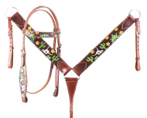 Showman Hand Painted Steer Skull, Cactus, and Small Yellow Flowers Headstall and Breast collar Set.