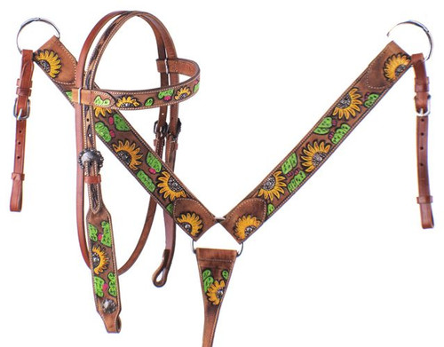 Showman ® Hand Painted Sunflower Halves and Cactus Browband Headstall and Breast collar Set.