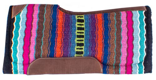 "Showman 34"" x 36"" x 3/4"" Multi Colored Striped Memory Felt Bottom Saddle Pad"