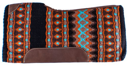 "Showman 34"" x 36"" x 3/4"" Turquoise, Orange & Black Colored Memory Felt Bottom Saddle Pad"