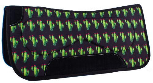 "Showman  31"" x 32"" x 18 mm Built Up Felt Saddle Pad w/ Cactus Design"