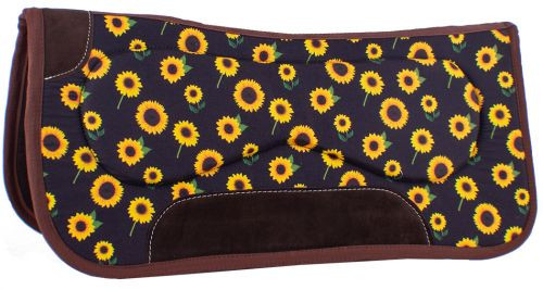 "Showman 31"" x 32"" x 18 mm Built Up Felt Saddle Pad w/ Sunflower Design"