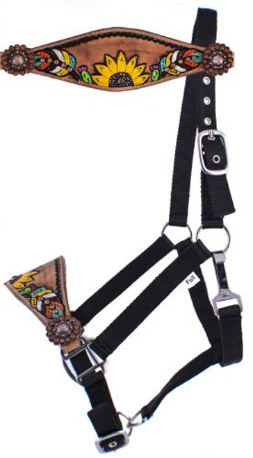 Showman  Adjustable Black Nylon Bronc Halter w/ Hand Painted Feather, Sunflower, & Cactus' Nose Band