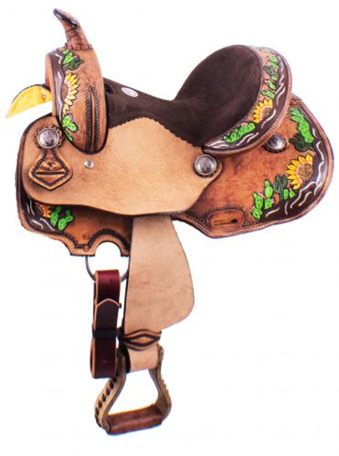 "12"" Double T  Barrel Style Saddle with hand painted sunflower and cactus design."