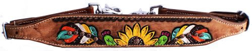 Showman ® Hand painted feather, sunflower, and cactus wither strap.