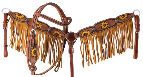 Showman ® PONY Hand painted sunflower headstall and breast collar set with fringe.