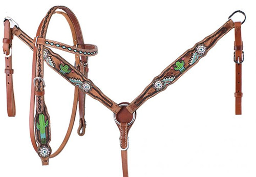 Showman ® PONY Hand painted cactus headstall and breast collar set with turquoise conchos.
