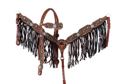 Showman ® Hand painted arrow design headstall and breast collar with fringe.