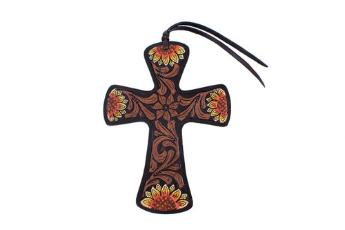 Showman ™ Black hand painted tie on leather cross.