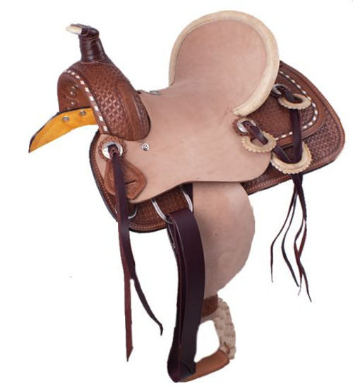 """12"""" Double T hard seat roper style saddle with basket weave tooling with raw hide accents."""
