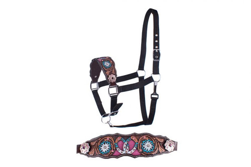 Showman ®  Adjustable nylon bronc halter with hand painted floral and flowers nose band.